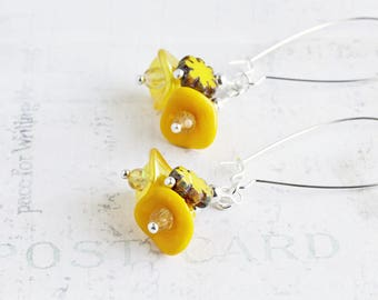 Yellow Cluster Earrings, Yellow Flower Earrings on Silver Plated Hooks, Sunshine Yellow Dangles, Czech Glass, Beaded Jewelry