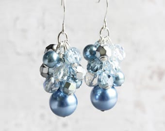 Steel Blue Earrings, Blue Dangle Earrings on Silver Plated Hooks, Cluster Earrings, Blue Bridesmaid Earrings, Beaded Bridal Jewelry