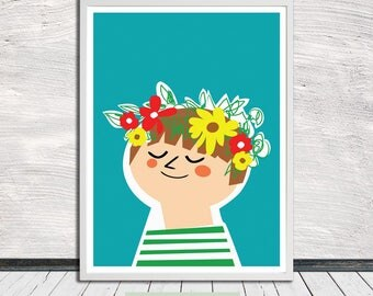 Flower Child (turquoise), Flower Wreath, Nursery Art, Illustration, Wall Art, Printable Art, Instant Digital Download