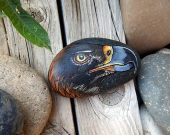 GOLDEN EAGLE Hand Painted Rocks Animal Totem Stone Altar Tools Birds of Prey Eagle Medicine Rock Art Bird Lovers Gifts Hawk Spirit Animal