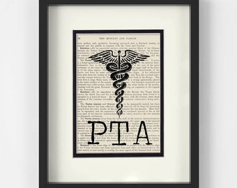 PTA Gift - PTA over Vintage Medical Book Page - Gift for Physical Therapy Assistant, Gift for Physical Therapist Assistant