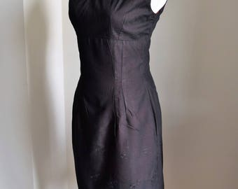 1950's Wiggle Dress in Solid Black and Eyelet Overlay over Solid Red Fabric/1950's Black Wiggle Dress with Eyelet and Red
