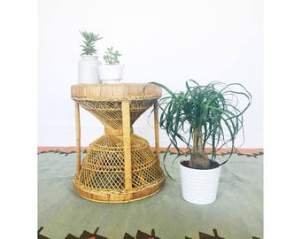 Vintage Rattan Hourglass Stool or Plant Stand