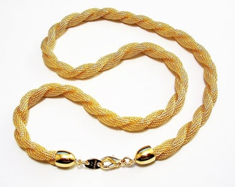 Avon Twisted Mesh Rope Necklace Choker Gold Tone 19 Inches Long Thick Textures Link Chain Weaved Tube Bands Cap Ends Lobster Claw Clasp