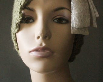 Handmade One of A Kind Sage Green Crochet Cloche Beanie Hat Embellished with Cream and White Lace Bows