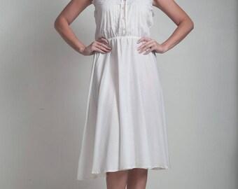 70s vintage white cotton tank dress lace elastic waist spaghetti straps MEDIUM M