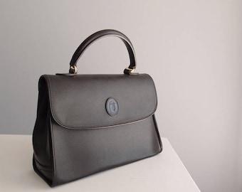 Trussardi Black Pebbled Canvas & Leather Kelly Bag Purse vintage handbag made in Italy