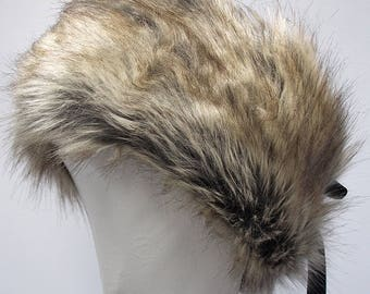 Luxury faux fur headband | ladies winter hat | fur hat | handmade | brown and grey fur headband | adjustable | ribbon trim