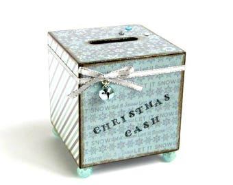 Coin Bank Christmas Savings Bank Decoupaged Christmas Cash Piggy Bank Light Blue Gray Snowflake Holiday Gift Savings Holiday Decor