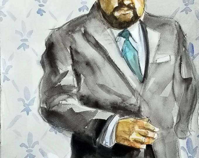 Well Dressed Chubster, 11 x14 inches, watercolor and crayon on cotton paper by Kenney Mencher