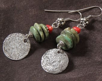 Sante Fe Stack Earrings: turquoise, coral, etched silver