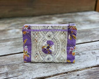 Handmade Zipper Pouch, Floral Cotton, Antique Lace, Vintage Trim, Fabric Yo-Yo, Lined, Beaded Zipper Pull