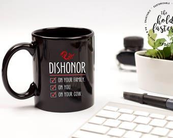 Disney, Disney Mug, Coffee Cup, Mulan Quote, Dishonor on Your Cow, Mushu Quote, Disney Gift, Disney Quote, Mulan Quote, Kids Mug, Funny Mugs