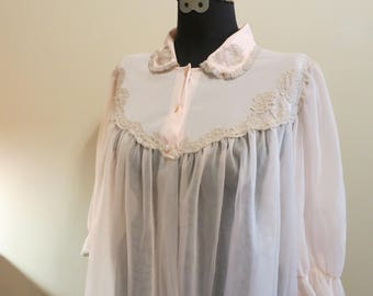 Robe bed jacket pink chiffon lace bridal baby shower gift for her romantic pinup sleepwear 36 38 L