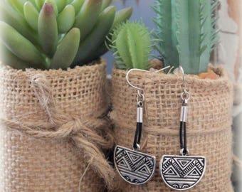Tribal style dangle Earring Leather and Antique Finish Aztec Geometric Markings elements Earring Boho Gypsy Bohemian earrings by Inali