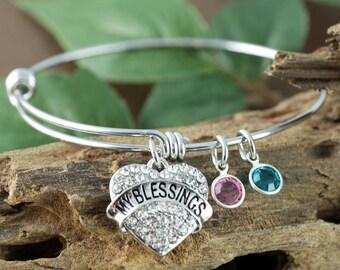 Grandma Bangle Bracelet, Personalized Birthstone Bracelet, Mothers Bracelet, Gift for Grandma, Mothers Day Gift, My Blessings Bracelet