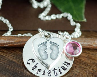 New Baby Necklace, Personalized Jewelry, Gift for Mom, Mother's Necklace, Baby Feet Necklace, Mommy Necklace, Push Present, Gift for Mom