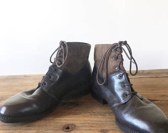 Vintage 90s Brown Leather and Suede Roper Boots, Lace Up Boots, Women's Boots, Ankle Boots, Size 39, Size 8.5
