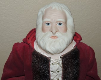 Beverly Walter 1980 Father Christmas Porcelain Doll and Stand
