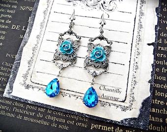 Aqua Blue Flower Crystal Earrings, Victorian Earrings in Oxidized Silver, Victorian Jewelry