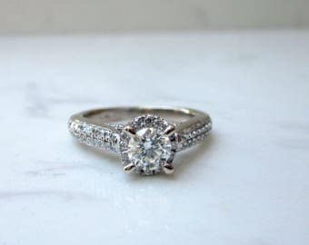 Estate .94 Total Diamond Weight 18k White Gold Halo Engagement Ring With GIA VS1, H .40 Center Diamond, Size 4.5