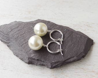 Large Pearl Hoop Earrings, Cream Czech Glass Pearl Earrings, Cream Earrings, Hoop Earrings, Pearl Jewellery, Cream Jewellery, UK, 343