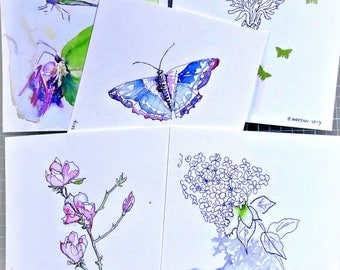 Spring. Butterflies. blossoms. 5 for the price of 4. Original watercolor greeting cards.