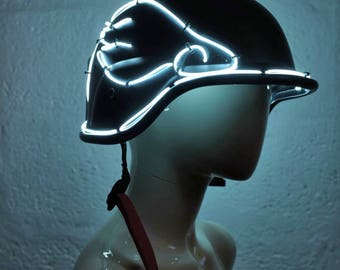SALE!! EL wire Helmet - Black/White - mad max, apocalypse, burning man, cosplay, please read description for sizes