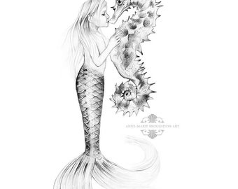 8x10 inch PRINT Little Girl Mermaid Kissing Seahorse Pencil Drawing Art Black and White Signed