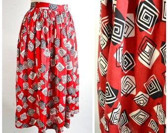 1970s 80s does 50s Dark red black spiral print rayon skirt / 1950s style gathered mid century printed day skirt - M L