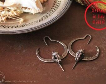 Xmas in July Sale Miyu Decay Gauged Crescent Bat Hooped Earrings