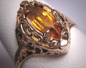 Antique Citrine Ring Vintage Edwardian Art Deco Filigree Wedding Gold c.1910