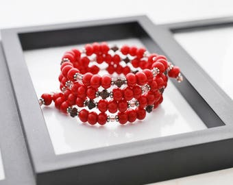 Red Bracelet, Wrap Bracelet, Memory Wire Bracelet, Beaded Bracelet, Boho Bracelet, Handmade Bracelet, Czech Glass, One of a Kind, For Her
