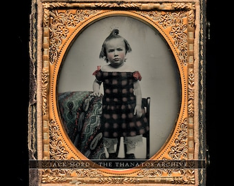 Wonderful Color Ambrotype Little Boy in Dress, Funny Hair / 1850s