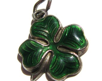 Vintage Four Clover Charm Shamrock Green Enamel on Sterling Silver Vintage Charm St. Patrick's Day Irish Good Luck