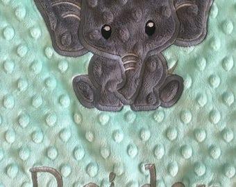 Baby blanket, Elephant Blanket,  Personalized blanket, blanket  29 x 35 blanket personalized, minky baby blanket, baby gift