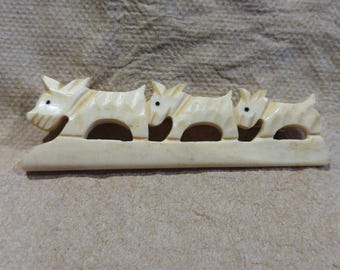 old carved bone Scottie Dog brooch pin SCOTTY * 3 in a row