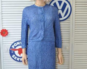 "Vintage 60s Two Piece Womens Suit Skirt & Jacket Dress Cobalt Blue Basket-Ribbon-open Weave ""The Jackie"" Costume Mad men Small Handmade OOAK"