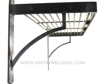 """Hand Forged Iron Steel Metal Blacksmith Simplified """"Riveting"""" Pot Rack with Hooks by VinTin"""