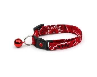 Bandana Cat Collar - Red Bandana Paisley - Kitten or Large Size - Nautical Cat Collar
