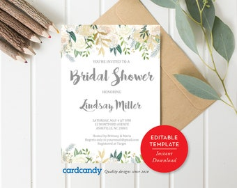 Bridal Shower Invitation Instant Download, Editable Bridal Shower Template, Floral Bridal Shower Card, Watercolor, PDF, Wedding -SH02a