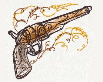 Western Flair Pistol Tea Towel | Personalized Kitchen Towel | Embroidered Tea Towel | Embroidered Towel | Gun Lover Gift | Birthday Towel