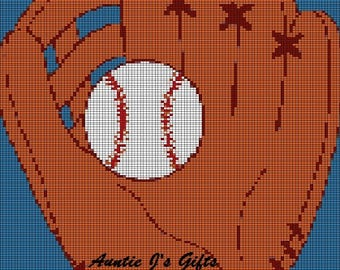 CROCHET graph with instructions PATTERN, ball and glove for afghan