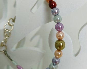 OOAK Bracelet Acrylic Pearls, Spring, Summer Jewelry, Shiny Fashionable Jewelry, Silver Plated