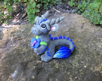 Polymer Clay Dragon Cute with Orchid