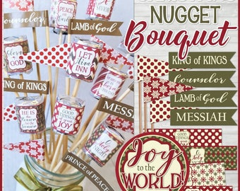 Christmas Nugget Bouquet, Christ-Centered Christmas, Christian Gift Idea, Nativity Centerpiece, Gift Idea - Printable Instant Download