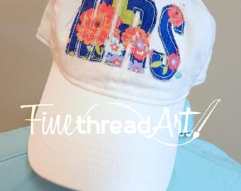 LADIES Floral Applique Monogram Mrs. Wedding Baseball Cap Hat LEATHER strap Flower Floral Coral Blue Pink Beach Girls Trip Pigment Dyed