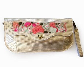 Gold leather handbag, Leather embroidered purse, Colorful evening bag, Women's cross body purse, bohemian style purse