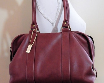 Authentic Vintage COACH -Rare LARGE  Soft Satchel -Speedy Handbag-Burgundy -Supple Rich Dark Red Leather