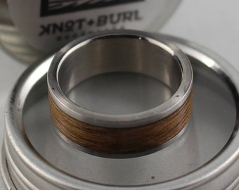 Custom Handmade Bentwood & Stainless Steel Ring - Single Wood